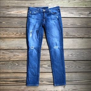 AG The Legging Super Skinny Ankle Distressed Jeans